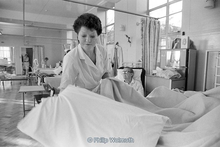 Domestic worker on a geriatric ward, St.Nicholas Hospital Greenwich.