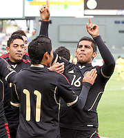 San Francisco, California - Saturday March 17, 2012: Miguel Ponce celebrates after his Penalty Kick during the Mexico vs Senegal U23 in final Olympic qualifying tuneup. Mexico defeated Senegal 2-1