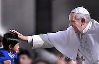 Pope Francis  during his weekly general audience in St. Peter square at the Vatican, Wednesday. 1st April 2015