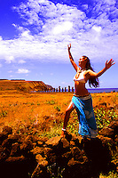 Wild colors of Moai Statues and scenics in Easter Island during Tapati Festival Rapa Nu