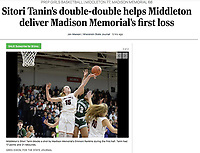 Middleton's Sitori Tanin blocks a shot by Madison Memorial's Emmoni Rankins in the first period, as Madison Memorial takes on Middleton in Wisconsin WIAA Big Eight Conference girls high school basketball on Friday, Jan. 31, 2020 at Middleton High School | Wisconsin State Journal article front page Sports B1 and B4 and online at https://madison.com/wsj/sports/high-school/basketball/girls/sitori-tanin-s-double-double-helps-middleton-deliver-madison-memorial/article_1478e3ef-c7a1-51d6-b196-b8a885717277.html