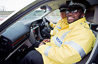Traffic police officers in their police rapid response traffic vehicle. This image may only be used to portray the subject in a positive manner..©shoutpictures.com..john@shoutpictures.com