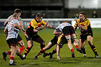 A Blackheath Rugby player is taken for a ride during the English National League match between Richmond and Blackheath  at Richmond Athletic Ground, Richmond, United Kingdom on 4 January 2020. Photo by Carlton Myrie.