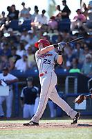 Austin O'Banion (25) of the Spokane Indians bats against the Hillsboro Hops at Ron Tonkin Field on July 22, 2017 in Hillsboro, Oregon. Spokane defeated Hillsboro, 11-4. (Larry Goren/Four Seam Images)