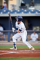 Charlotte Stone Crabs right fielder Miles Mastrobuoni (5) follows through on a swing during a game against the Bradenton Marauders on August 6, 2018 at Charlotte Sports Park in Port Charlotte, Florida.  Charlotte defeated Bradenton 2-1.  (Mike Janes/Four Seam Images)