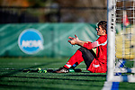 26 October 2019: University of Massachusetts Lowell River Hawk Goalkeeper Zach Rowell, a Graduate from Haverhill, MA, rests on a goalpost after game action against the University of Vermont Catamounts at Virtue Field in Burlington, Vermont. The Catamounts rallied to defeat the River Hawks 2-1, propelling the Cats to the America East Division 1 conference playoffs. Mandatory Credit: Ed Wolfstein Photo *** RAW (NEF) Image File Available ***