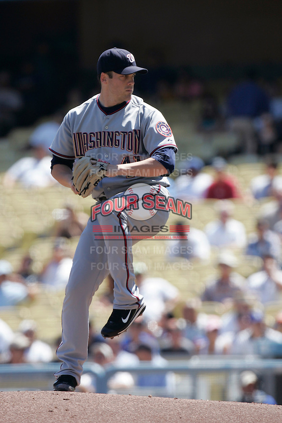 Shawn Hill of the Washington Nationals during a game from the 2007 season at Dodger Stadium in Los Angeles, California. (Larry Goren/Four Seam Images)