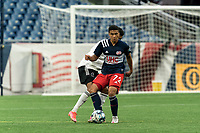 FOXBOROUGH, UNITED STATES - MAY 28: Damian Rivera #72 of New England Revolution II passes the ball during a game between Fort Lauderdale CF and New England Revolution II at Gillette Stadium on May 28, 2021 in Foxborough, Massachusetts.