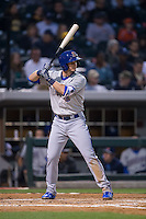 Daniel Robertson (28) of the Durham Bulls at bat against the Charlotte Knights at BB&T BallPark on April 14, 2016 in Charlotte, North Carolina.  The Bulls defeated the Knights 2-0.  (Brian Westerholt/Four Seam Images)