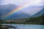 Rainbow over Ravensthroat River, Mackenzie Mountains, Northwest Territories, Canada