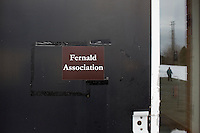 "A sign reads ""Fernald Association"" at the Fernald Developmental Center in Waltham, Massachusetts, USA."