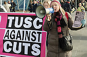 TUSC protest. Labour Party Special Conference on reform of its links to trade unions, ExCel Centre, London.