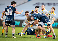 27th December 2020; AJ Bell Stadium, Salford, Lancashire, England; English Premiership Rugby, Sale Sharks versus Wasps;  Will Porter of Wasps  is tackled by Dan du Preez of Sale Sharks