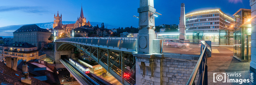 """Bressière"" bridge in Lausanne at night"