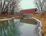 Bureau County, IL: Red Covered Bridge over Bureau Creek in winter