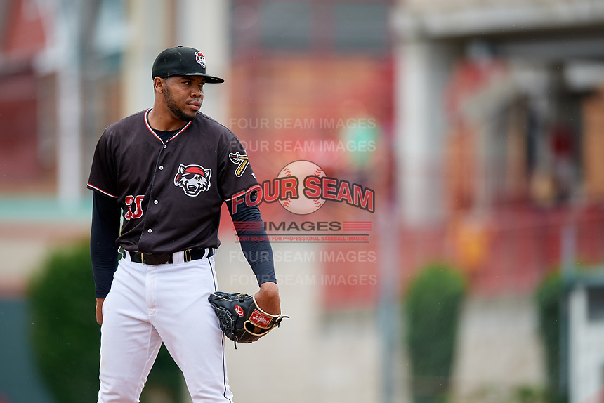 Erie SeaWolves starting pitcher Sandy Baez (30) looks in for the sign during a game against the New Hampshire Fisher Cats on June 20, 2018 at UPMC Park in Erie, Pennsylvania.  New Hampshire defeated Erie 10-9.  (Mike Janes/Four Seam Images)