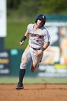 Ian Dawkins (6) of the Kannapolis Intimidators hustles towards third base against the Greensboro Grasshoppers at Kannapolis Intimidators Stadium on August 5, 2018 in Kannapolis, North Carolina. The Intimidators defeated the Grasshoppers 9-0 in game two of a double-header.  (Brian Westerholt/Four Seam Images)