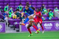 ORLANDO, FL - FEBRUARY 24: Rafaelle #4 of Brazil kicks the ball during a game between Brazil and Canada at Exploria Stadium on February 24, 2021 in Orlando, Florida.