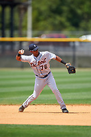 Detroit Tigers Junnell Ledezma (76) during practice before a minor league Spring Training game against the New York Yankees on March 22, 2017 at the Yankees Complex in Tampa, Florida.  (Mike Janes/Four Seam Images)