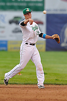 Second baseman Jack Reinheimer #29 of the Clinton LumberKings throws to first base against the West Michigan Whitecaps at Ashford University Field on July  25, 2014 in Clinton, Iowa. The Whitecaps won 9-0.   (Dennis Hubbard/Four Seam Images)