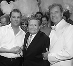 """Backstage with Douglas Hodges, Jerry Herman, Kelsey Grammer & the ensemble cast<br />during the Broadway Opening Night Performance Curtain Call for  """"La Cage Aux Folles""""  at the Longacre Theatre in New York City."""