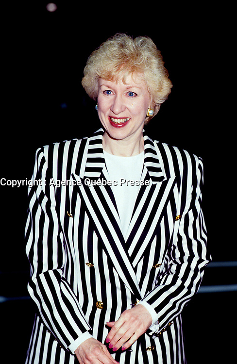 FILE PHOTO :  <br /> Candian premier and conservative leader<br /> Kim Campbell before the EXPOS baseball match<br /> at Montreal's Olympic Stadium ,<br /> during the 1993 electoral campaign.<br /> <br /> Photo :  Pierre Roussel  - Agence Quebec Presse