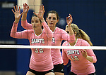 From left, Marymount's Emily Shultis, Erin Allison and Johanna Hummel wait for the serve during a college volleyball match against Shenandoah at Marymount University in Arlington, Vir., on Tuesday, Oct. 8, 2013.<br /> Photo by Cathleen Allison