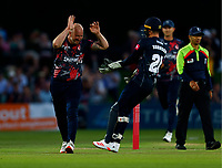 Darren Stevens (L) of Kent celebrates with Ollie Robinson after taking the wicket of James Vince during Kent Spitfires vs Hampshire Hawks, Vitality Blast T20 Cricket at The Spitfire Ground on 9th June 2021
