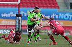 Munster lock Billy Holland takes on Scarlets number 8 John Barclay.<br /> Guiness Pro12<br /> Scarlets v Munster<br /> 21.02.15<br /> ©Steve Pope -SPORTINGWALES