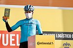Gorka Izaguirre Insausti (ESP) Astana Pro Team awarded most aggressive rider from yesterday's stage at sign on before the start of Stage 7 of the Vuelta Espana 2020 running 159.7km from Vitoria-Gasteiz to Villanueva de Valdegovia, Spain. 27th October 2020.  <br /> Picture: Luis Angel Gomez/PhotoSportGomez | Cyclefile<br /> <br /> All photos usage must carry mandatory copyright credit (© Cyclefile | Luis Angel Gomez/PhotoSportGomez)