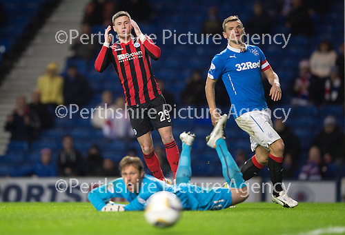 Rangers v St Johnstone....28.10.14   Scottish League Cup Quarter Final at Ibrox<br /> Michael O'Halloran holds his head as Steve Simonsen pushes his shot wide<br /> Picture by Graeme Hart.<br /> Copyright Perthshire Picture Agency<br /> Tel: 01738 623350  Mobile: 07990 594431