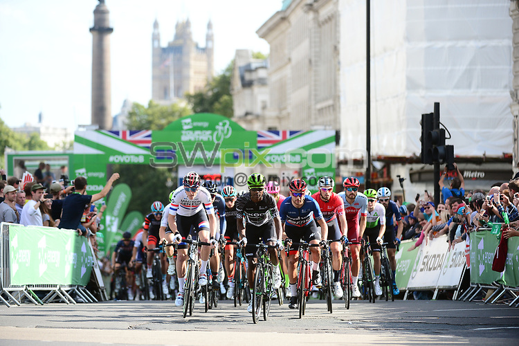 Picture By Simon Wilkinson/SWpix.com - 09/09/2018 Cycling- Tour of Britain 2018 Stage 8 London - - roll out start Connor Swift, Nic Dlamini