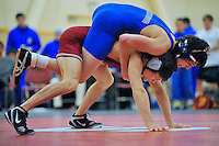 24 January 2008: Tanner Gardner earned his 15th pin of the season over Zack Bigboy (blue) during Stanford's 22-16 win over Cal State Bakersfield at the Ford Center in Stanford, CA.