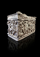 """Roman relief sculpted Hercules sarcophagus with kline couch lid, """"Columned Sarcophagi of Asia Minor"""" style typical of Sidamara, 250-260 AD, Konya Archaeological Museum, Turkey. Against a black background"""