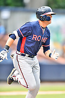 Rome Braves right fielder Greyson Jenista (23) runs to first base during a game against the Asheville Tourists at McCormick Field on July 6, 2018 in Asheville, North Carolina. The Tourists defeated the Braves 7-4. (Tony Farlow/Four Seam Images)