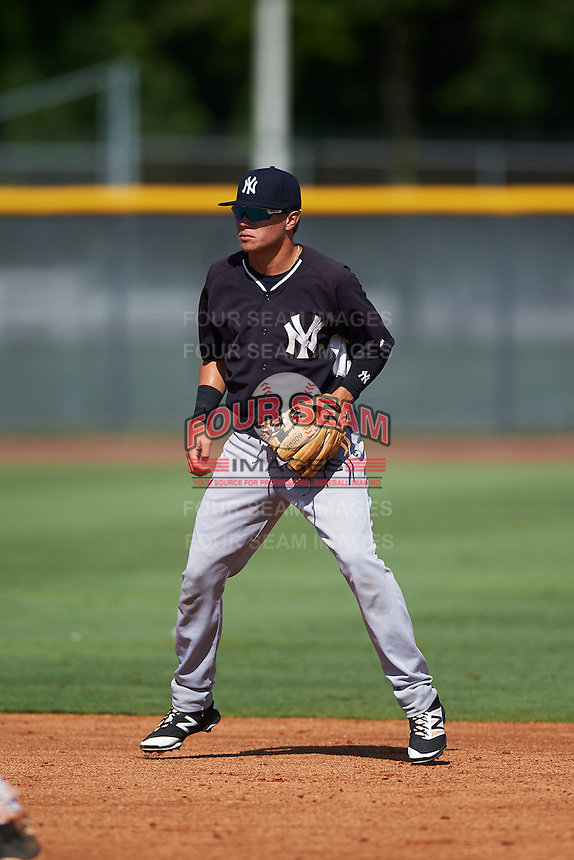 GCL Yankees West shortstop Diego Castillo (31) during a game against the GCL Yankees East on August 3, 2016 at the Yankees Complex in Tampa, Florida.  GCL Yankees East defeated GCL Yankees West 12-2.  (Mike Janes/Four Seam Images)