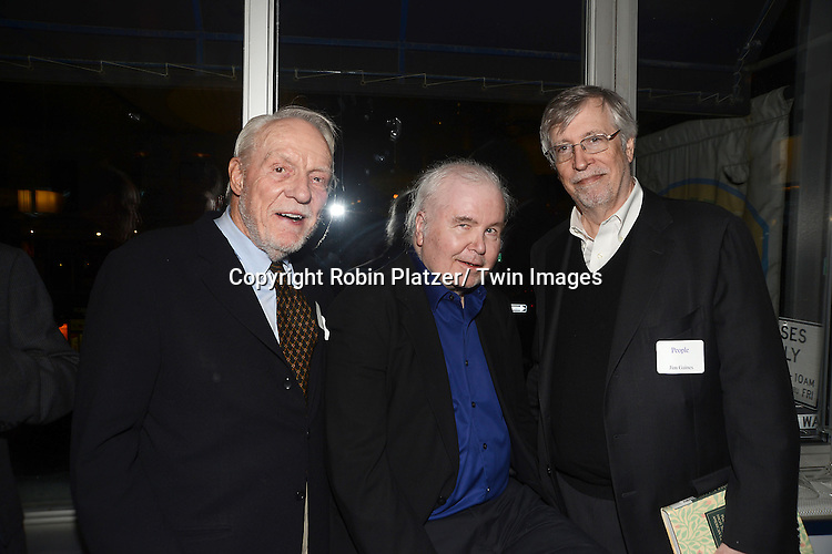 Dick Stolley, Ross Drake and Jim Gaines at the  People Magazine Employees Reunion on April 26, 2013 at Burger Heaven at 804  Lexington Avenue in New York City.