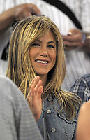 MIAMI- FL - MAY 02, 2008: Jennifer Aniston And Owen Wilson Film a scene for theIR movie Marley & Me at the Florida Marlins game on May 02, 2008 in Miami, Florida. <br /> <br /> <br /> People:   Jennifer Aniston