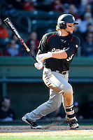 First baseman Kyle Martin (33) of the South Carolina Gamecocks bats in the Reedy River Rivalry game against the Clemson Tigers on March 1, 2014, at Fluor Field at the West End in Greenville, South Carolina. South Carolina won, 10-2.  (Tom Priddy/Four Seam Images)