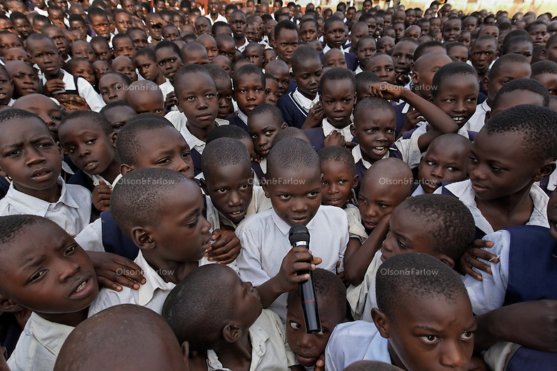 VH Public School in Lira.  They have an assembly every morning of all the students at 8:15.  Most of these kids are either war orphans or affected by the war with the LRA in some way..