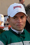 """DEL MAR, CA  AUGUST 18:  Jockey Joel Rosario who rode #5 Accelerate to a record setting win in the $1 Million TVG Pacific Classic (Grade l) """"Win and You're in Classic Division"""" on August 18, 2018 at Del Mar Thoroughbred Club in Del Mar, CA.(Photo by Casey Phillips/Eclipse Sportswire/Getty ImagesGetty Images"""