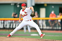 Johnson City Cardinals starting pitcher Dalton Roach (37) delivers a pitch during a game against the Kingsport Mets at TVA Credit Union Ballpark on June 28, 2019 in Johnson City, Tennessee. The Cardinals defeated the Mets 7-4. (Tony Farlow/Four Seam Images)