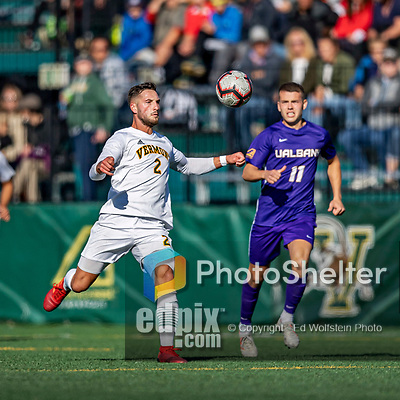 5 October 2019: University of Vermont Catamount Defender Adrian Gahabka, a Senior from Passau, Germany, in action against University at Albany Great Danes, on Virtue Field in Burlington, Vermont. The Catamounts fell to the visiting Danes 3-1 in America East, Division 1 play. Mandatory Credit: Ed Wolfstein Photo *** RAW (NEF) Image File Available ***