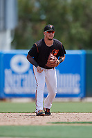 GCL Orioles third baseman Zachary McLeod (54) during a Gulf Coast League game against the GCL Braves on August 5, 2019 at Ed Smith Stadium in Sarasota, Florida.  GCL Orioles defeated the GCL Braves 4-3 in the second game of a doubleheader.  (Mike Janes/Four Seam Images)