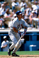 Mike Piazza of the New York Mets participates in a Major League Baseball game at Dodger Stadium during the 1998 season in Los Angeles, California. (Larry Goren/Four Seam Images)