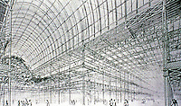 Crystal Palace, a cast-iron and plate-glass structure originally built in Hyde Park, London, to house the Great Exhibition of 1851. Designed by Joseph Paxton.