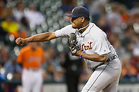 Detroit Tigers pitcher Jose Valverde (46) delivers a pitch to the plate during the MLB baseball game against the Houston Astros on May 3, 2013 at Minute Maid Park in Houston, Texas. Detroit defeated Houston 4-3. (Andrew Woolley/Four Seam Images).