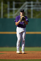 Starting pitcher Maddux Bruns (28) of UMS Wright Prep in Saraland, AL playing for the Colorado Rockies scout team during the East Coast Pro Showcase at the Hoover Met Complex on August 3, 2020 in Hoover, AL. (Brian Westerholt/Four Seam Images)