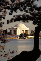 The Jefferson Memorial on the Tidal Basin with cherry blossoms in spring. The Mall, Washington, DC. Tourism, National Parks, Historical, Architecture. Washington DC USA.