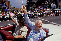 Montreal (Qc) CANADA - June 24 1990 File Photo - Jean Dore, Montreal Mayor (L) and jean Duceppe (R) take part in the Quebec  Saint-Jean Baptiste (National Holliday) Parade on Sherbrooke street East.
